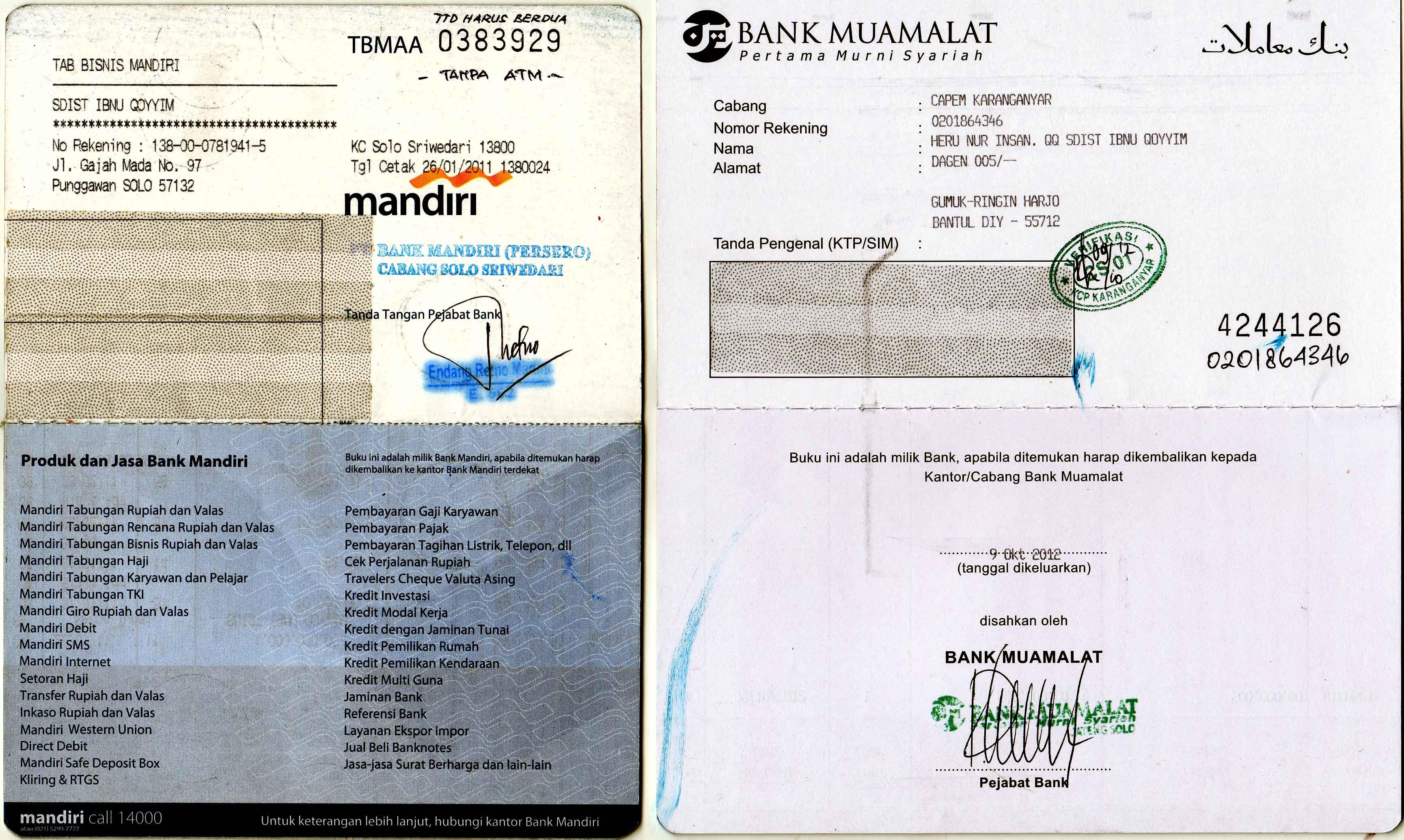 Rekening Anak Asuh Bank Muamalat Bank Mandiri